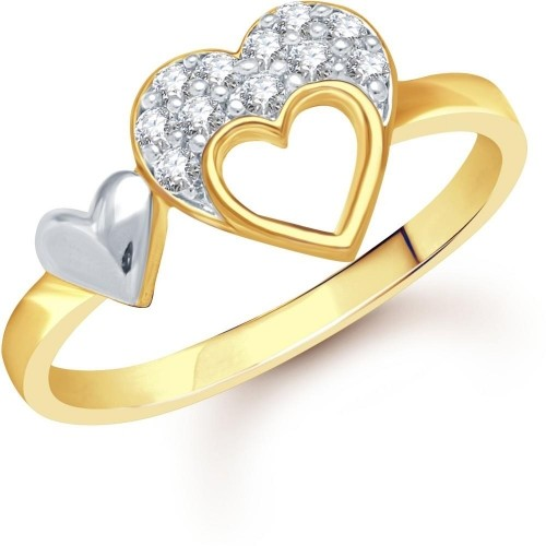 VK Jewels Golden Alloy Diamond Double Heart Gold Ring