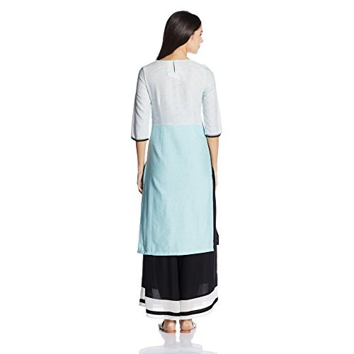 W for Woman White Cotton Straight Kurta