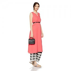 Indi lite Coral Red Solid Women's Empire Kurta