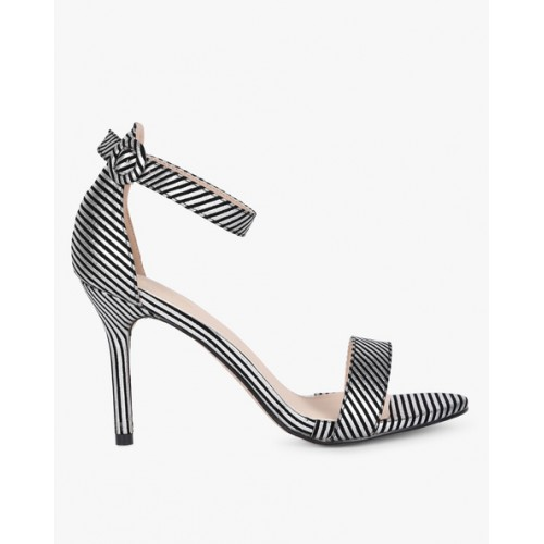 AJIO Silver Striped Sandal