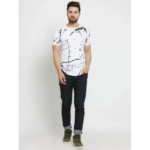 UZEE Printed Men's Round Neck White T-Shirt