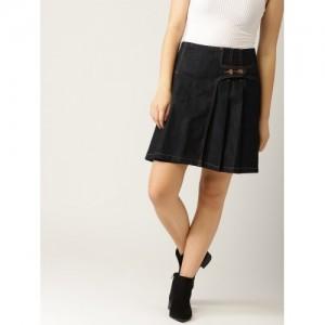 ESPRIT Women Navy Blue Solid Denim Wrap Skirt