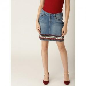 ESPRIT Women Blue Denim Washed Straight Skirt