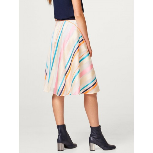 ESPRIT Off-White & Pink Striped Flared Skirt