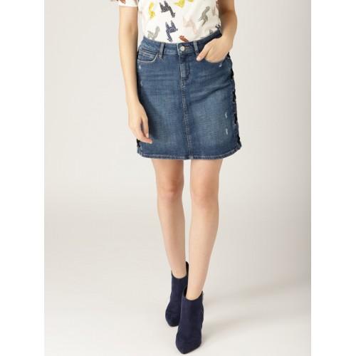 ESPRIT Women Blue Denim Washed Distressed Straight Skirt