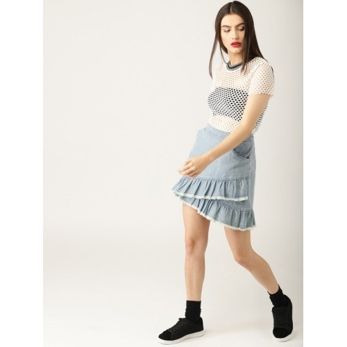 ESPRIT Blue Solid Layered Chambray Mini A-Line Skirt