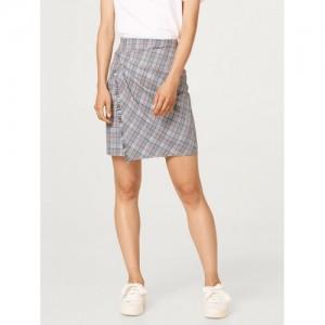 ESPRIT Women Blue & Black Checked Mini Wrap Skirt