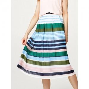 ESPRIT Blue & Green Striped A-Line Skirt