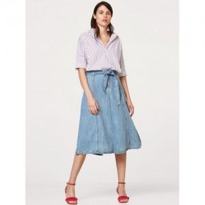 ESPIRIT Women Blue Solid Denim Midi Flared Skirt