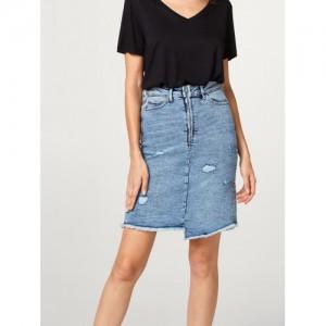 ESPRIT Blue Distressed Denim Skirt