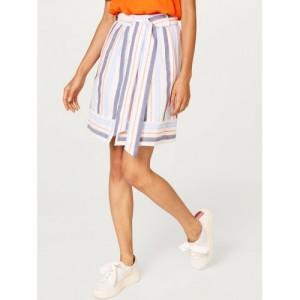 ESPRIT Women White & Blue Striped A-Line Skirt