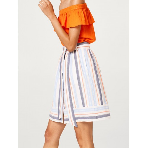 ESPRIT Women White & Blue Striped A-Line Skirt