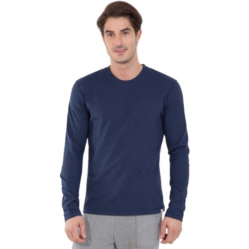 Jockey Solid Men Round Neck Dark Blue, Grey T-Shirt