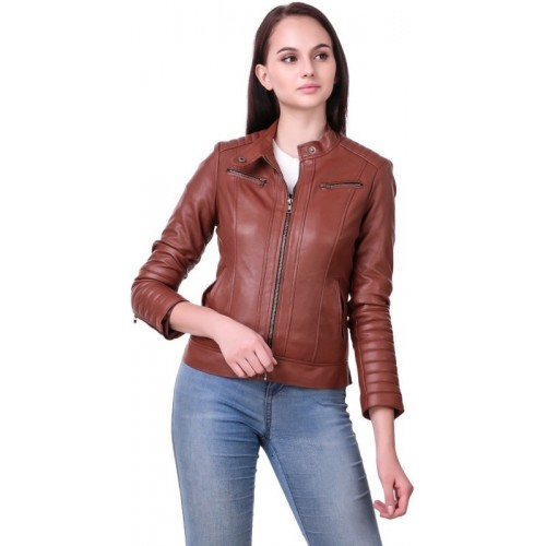 Leather Retail Full Sleeve Solid Women Jacket