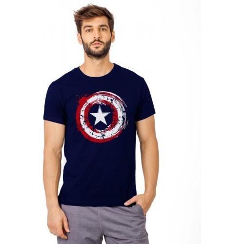 SmartRAHO Printed Men's Round Neck Dark Blue T-Shirt