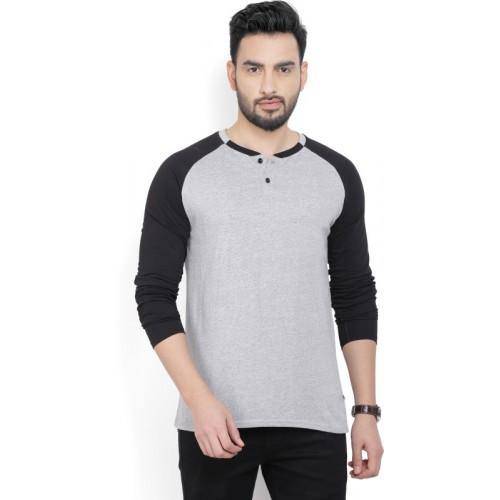 Billion PerfectFit Solid Men Henley Grey, Black T-Shirt