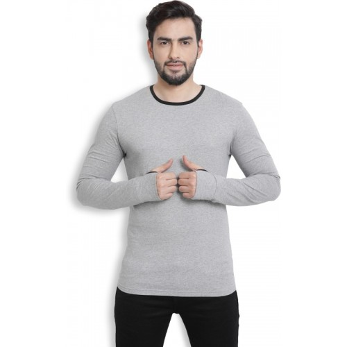 Billion PerfectFit Solid Men Round Neck Grey T-Shirt