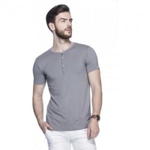 Tinted Solid Men's Henley Grey T-Shirt