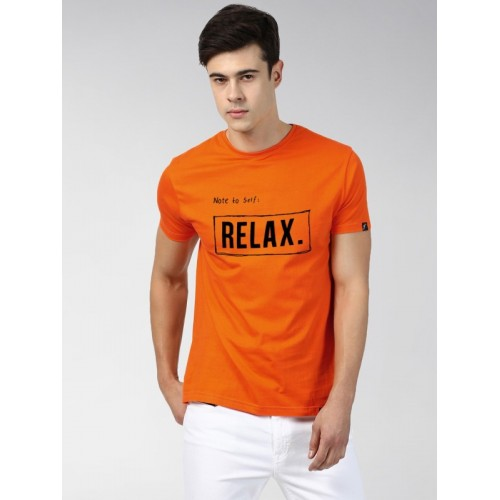 Young Trendz Conversational Men Round Neck Orange T-Shirt