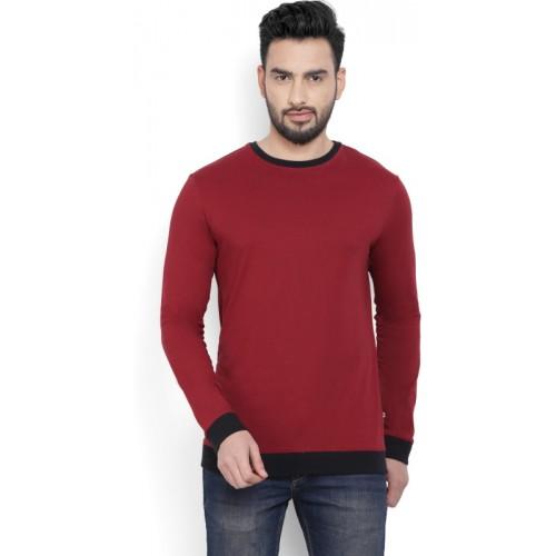 Billion PerfectFit Solid Men Round Neck Maroon T-Shirt