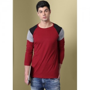 GHPC Solid Men Round Neck Maroon T-Shirt