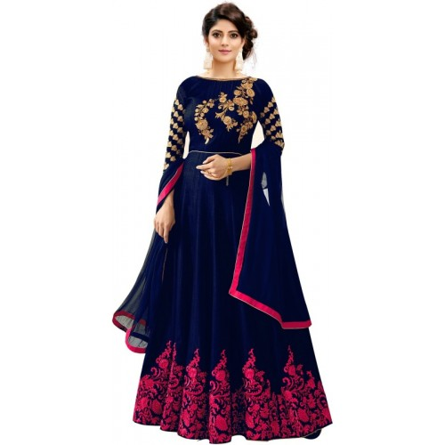 Trilok Fab Blue Silk Embroidered Anarkali Gown