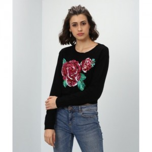 Forever 21 Embellished Round Neck Casual Women's Black Sweater