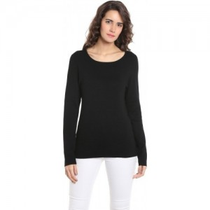 Vero Moda Solid Round Neck Casual Women's Black Sweater