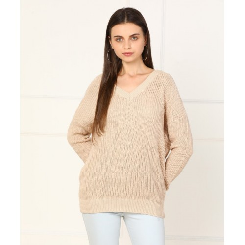 Forever 21 Self Design V-neck Casual Women's Beige Sweater