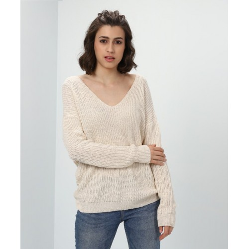Forever 21 Woven V-neck Party Women's Beige Sweater