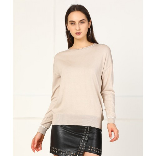 Forever 21 Self Design Round Neck Casual Women's Beige Sweater