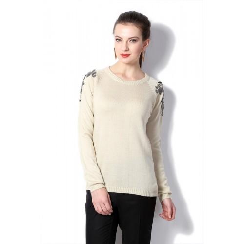 Van Heusen Solid Round Neck Casual Women Beige Sweater