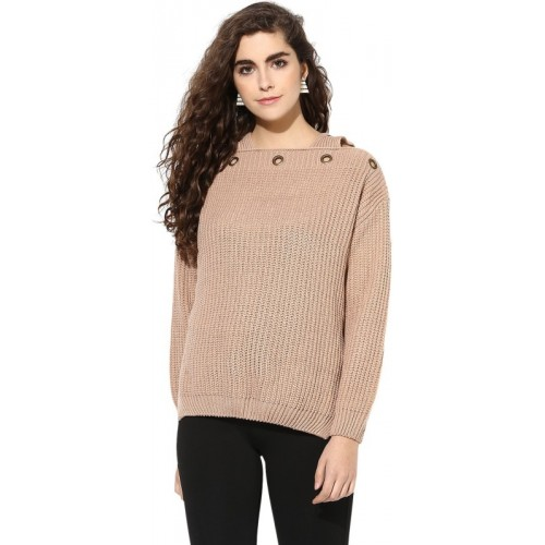Kazo Solid Round Neck Casual Women Beige Sweater
