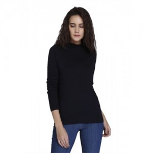 Vero Moda Solid Round Neck Casual Women Dark Blue Sweater