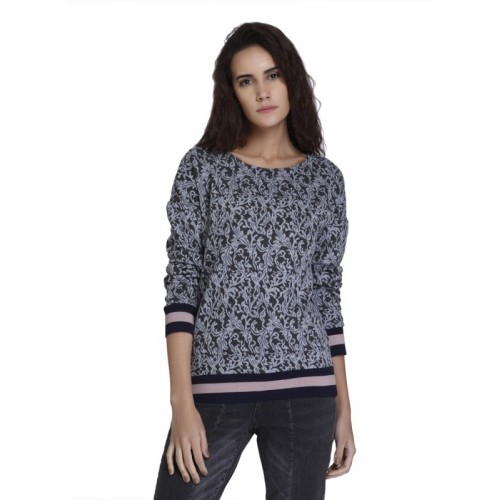 Vero Moda Printed Round Neck Casual Women Dark Blue Sweater