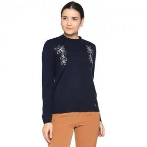 Allen Solly Embroidered Round Neck Casual Women Dark Blue Sweater