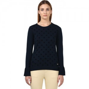 Park Avenue Printed Round Neck Formal Women Dark Blue Sweater