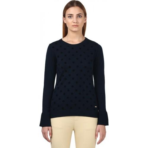 Park Avenue Printed Round Neck Formal Women Dark Blue Sweater