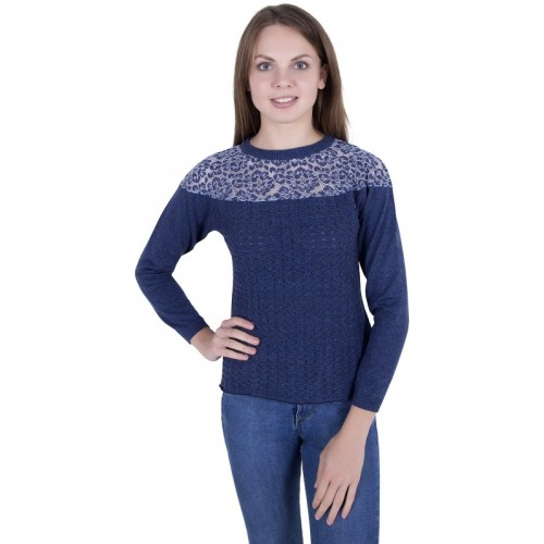 Zoravie Round Neck Self Design Women Pullover