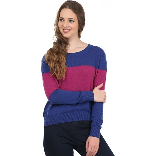 United Colors of Benetton Self Design Round Neck Casual Women Blue, Pink Sweater