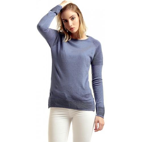Moda Elementi Round Neck Solid Women's Pullover