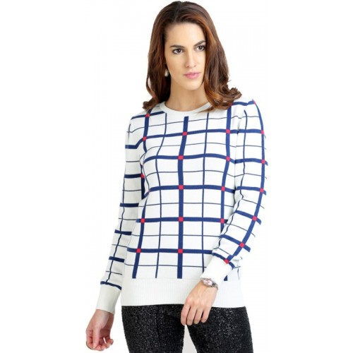 Moda Elementi Round Neck Checkered Women's Pullover