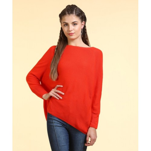 Only Striped Round Neck Casual Women Red Sweater