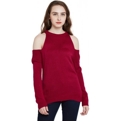 Marie Claire Solid Round Neck Casual Women Red Sweater