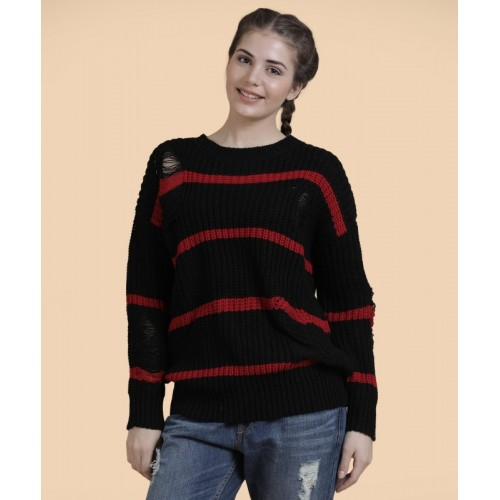 Forever 21 Striped, Self Design Round Neck Casual Women's Red, Black Sweater