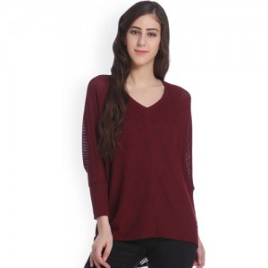 Only Solid Round Neck Casual Women Red Sweater
