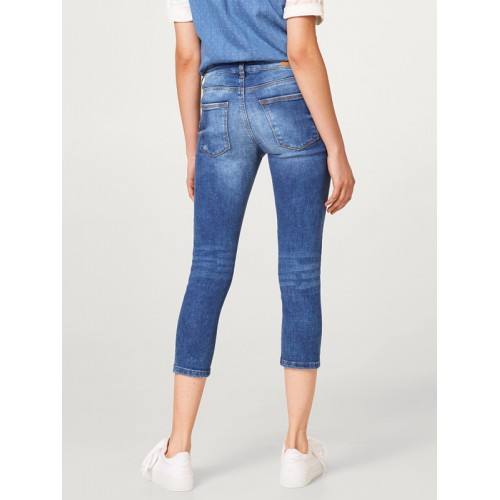 ESPRIT Women Blue Skinny Fit Mid-Rise Low Distress Stretchable Cropped Jeans