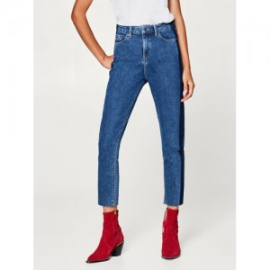 ESPRIT Women Blue Regular Fit High-Rise Clean Look Cropped Jeans