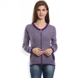 Van Heusen Self Design Round Neck Casual Women's Purple Sweater