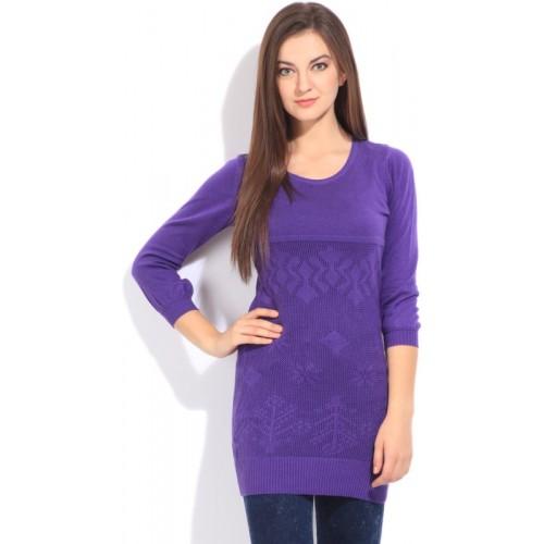 Flying Machine Self Design Round Neck Casual Women Purple Sweater